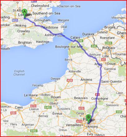 London to Paris Map