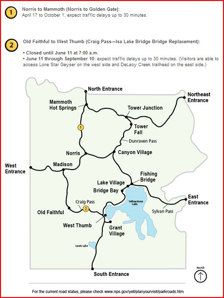 Yellowstone Road Work Map