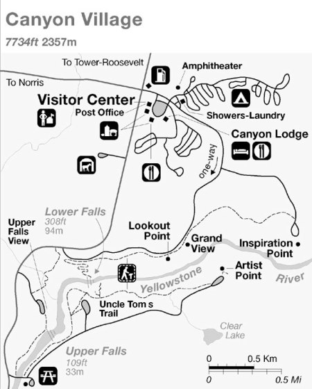 Canyon of the Yellowstone Map