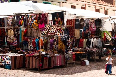 The marketplace at Pisac sells typical Andean crafts.