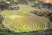 Concentric circles of the old Inca ruins of Moray in the Sacred Valley near Cusco, Peru